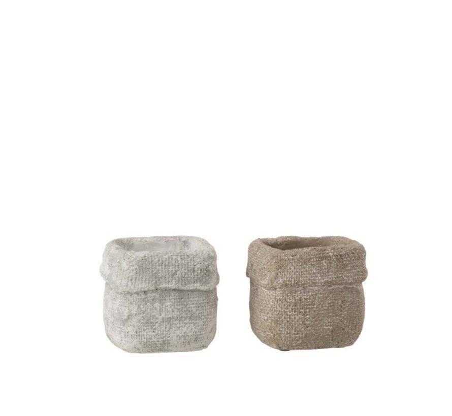 Flowerpot Square Cement White Beige - Small