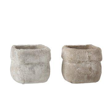 J -Line Bloempot Vierkant Cement Wit Beige - Medium