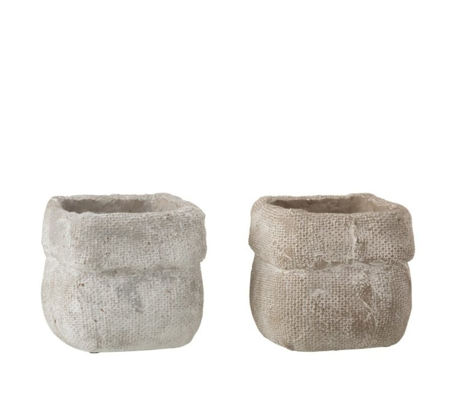Flowerpot Square Cement White Beige - Medium