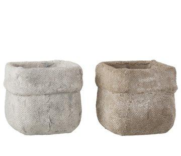 J -Line Flowerpot Square Cement White Beige - Large