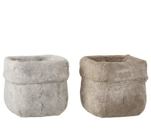 J -Line Bloempot Vierkant Cement Wit Beige - Large