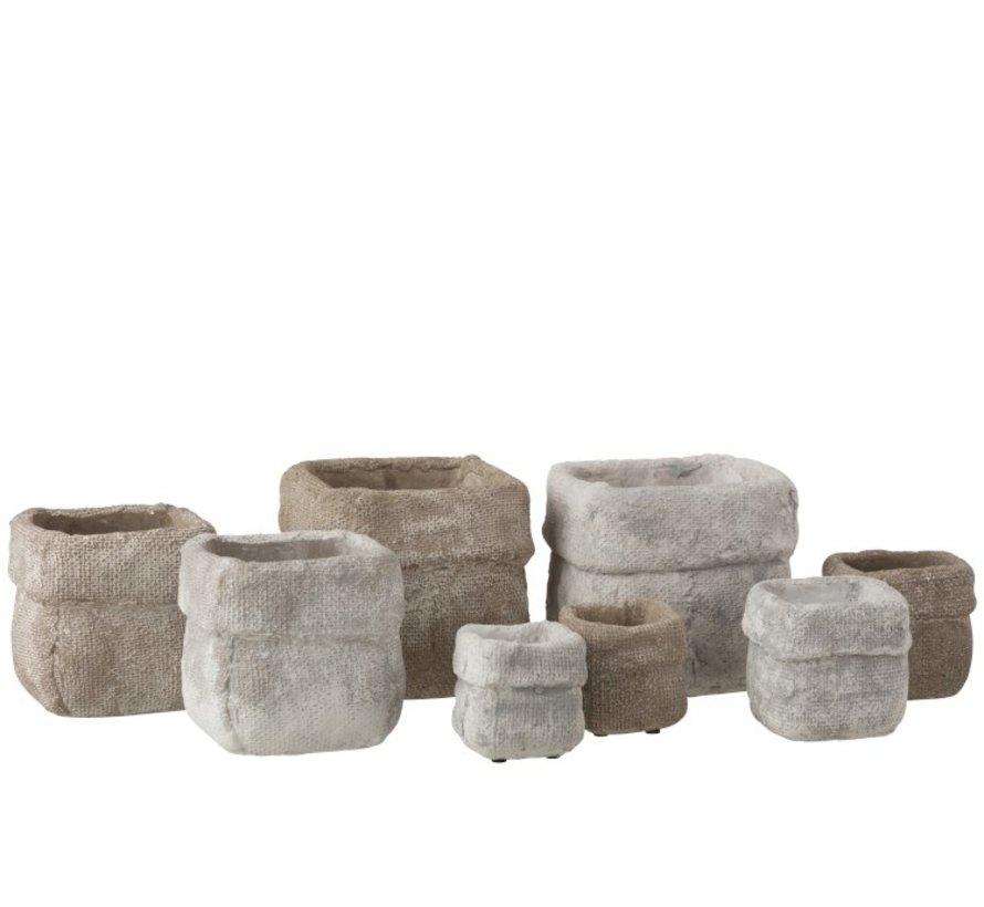 Bloempot Vierkant Cement Wit Beige - Large