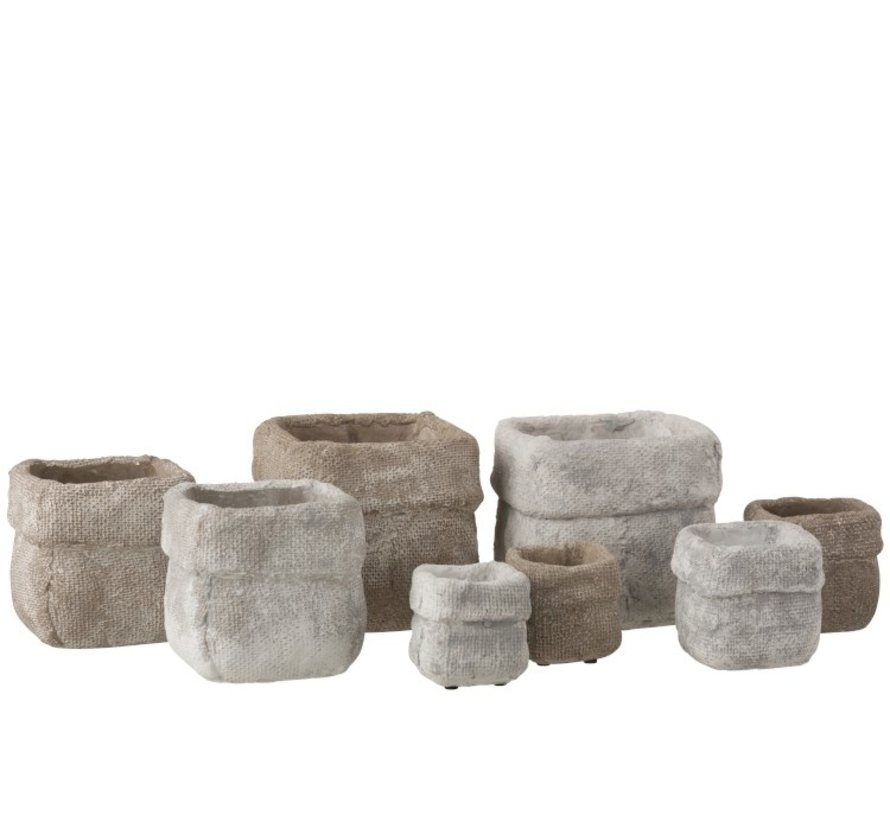 Flowerpot Square Cement White Beige - Large