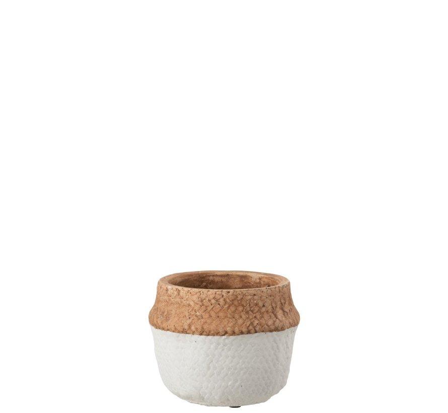 Bloempot Rond Cement Natuurlijk Bruin Wit - Extra Small