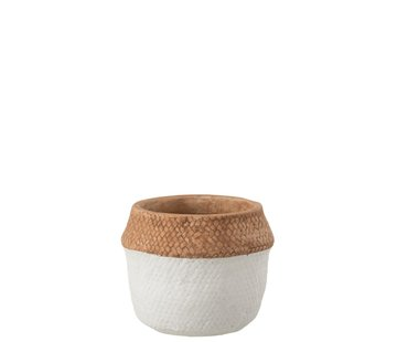 J -Line Flowerpot Round Cement Natural Brown White - Small