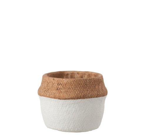 J -Line Flowerpot Round Cement Natural Brown White - Medium