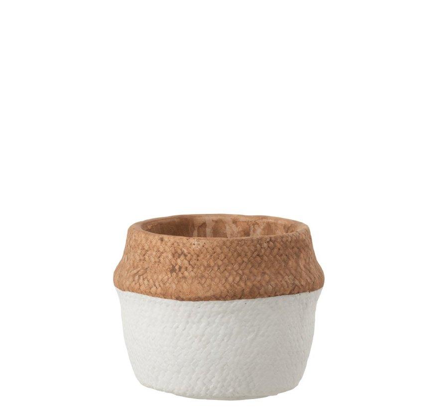 Flowerpot Round Cement Natural Brown White - Medium