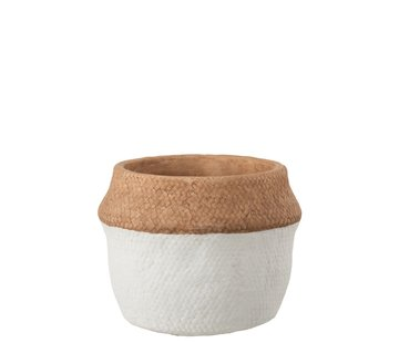 J -Line Flowerpot Round Cement Natural Brown White - Large
