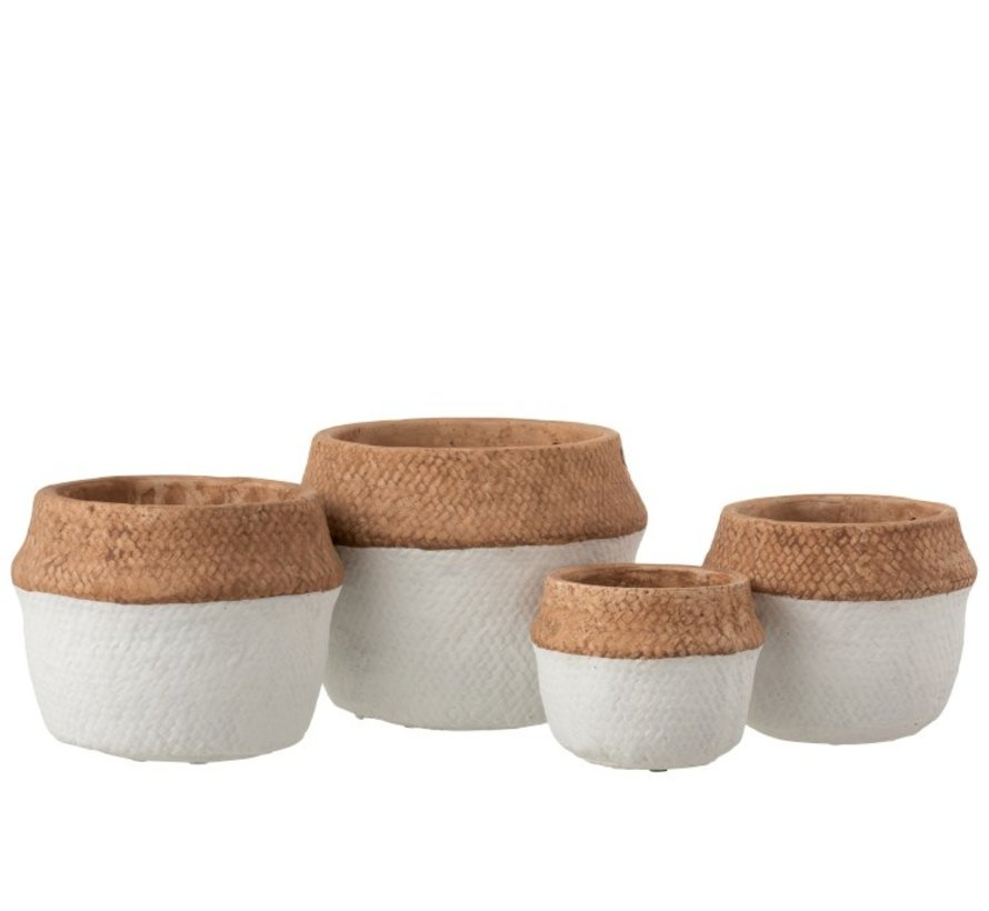 Flowerpot Round Cement Natural Brown White - Large