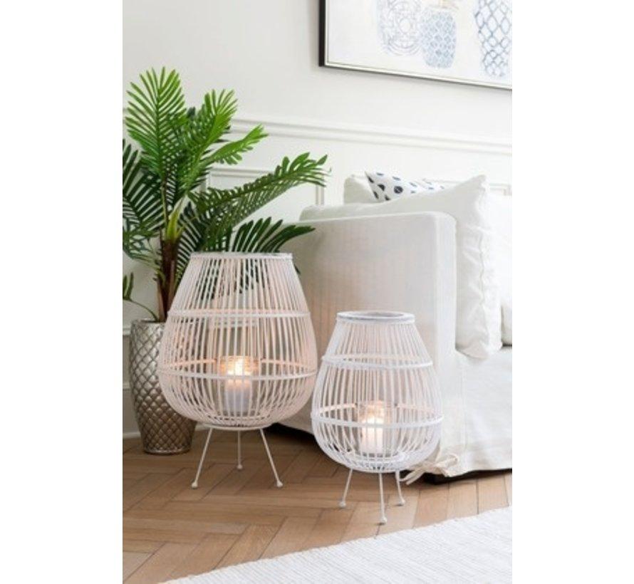 Lantaarn Landelijk Op Voet Bamboo Glas Wit - Small