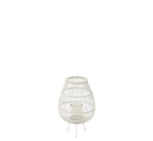 J -Line Lantern Rustic On Foot Bamboo Glass White - Small