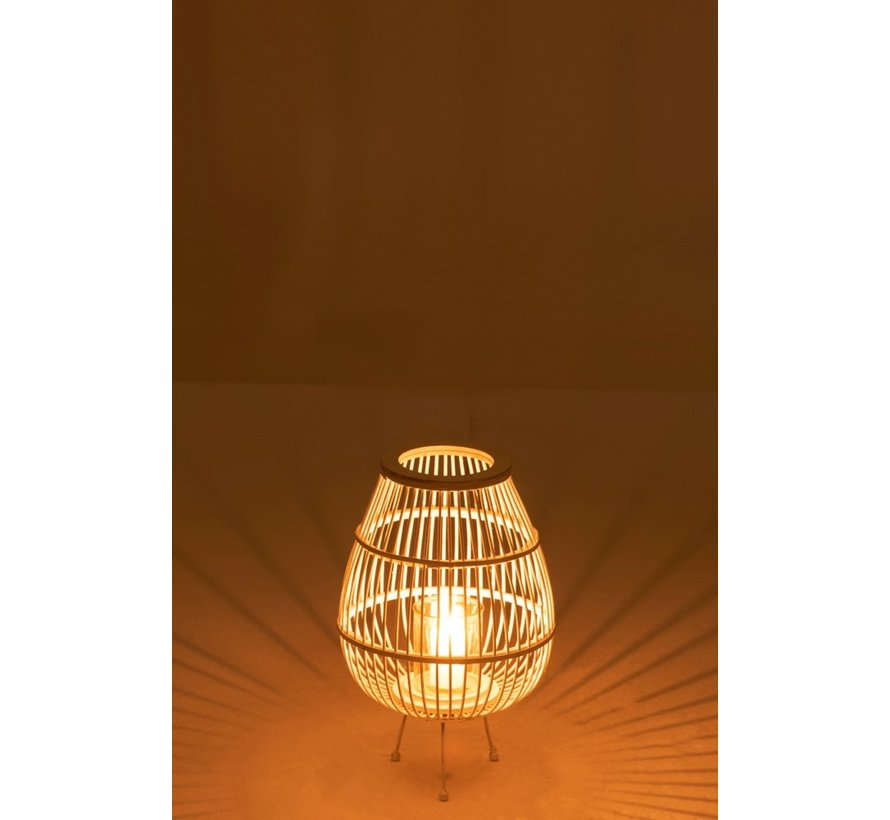 Lantern Rustic On Foot Bamboo Glass White - Small