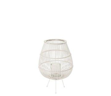 J -Line Lantaarn Landelijk Op Voet Bamboo Glas Wit - Large