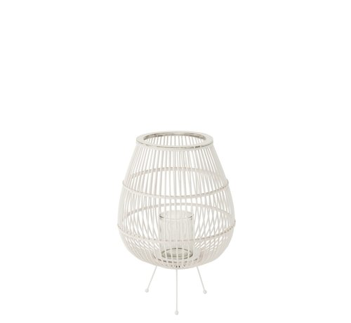 J -Line Lantern Rustic On Foot Bamboo Glass White - Large