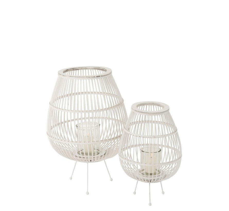 Lantern Rustic On Foot Bamboo Glass White - Large