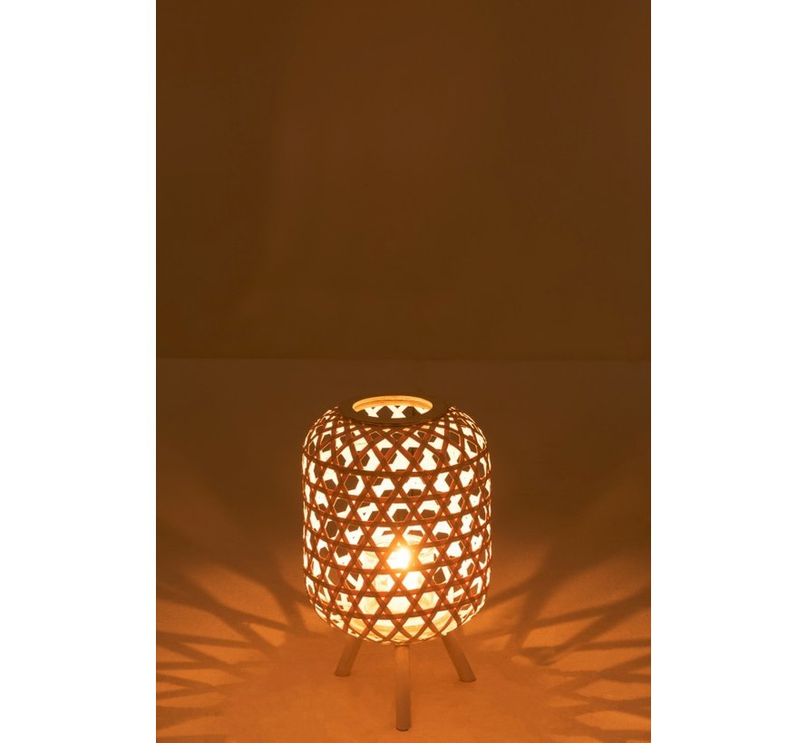 Lantern Rustic On Foot Wood Matt White - Medium