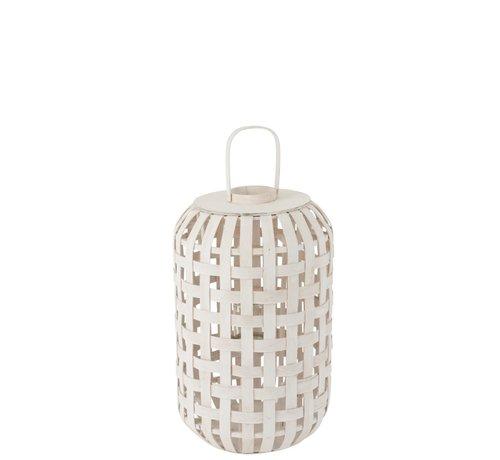 J -Line Lantern Rural Cylinder Wood Matt White - Large