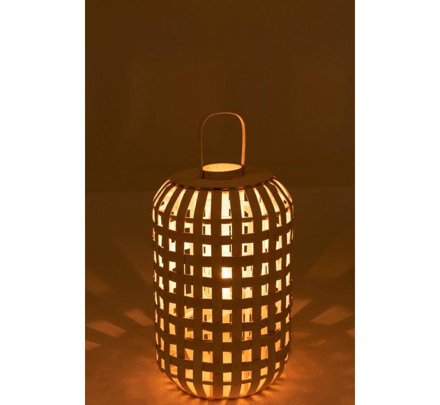 Lantern Rural Cylinder Wood Matt White - Large
