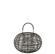 J -Line Lantern Bamboo Round Rural Black - Small