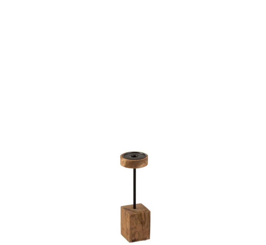 Candlestick On Foot Mango Wood Metal Brown Black - Extra Small
