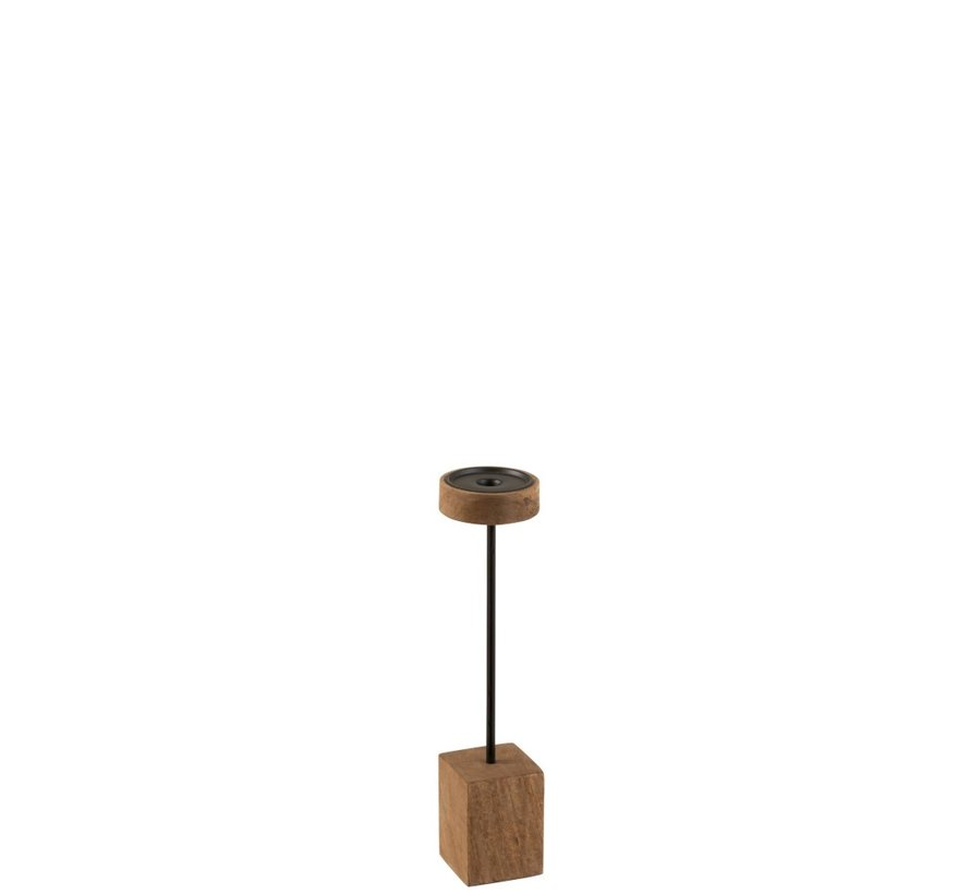 Candlestick On Foot Mango Wood Metal Brown Black - Small
