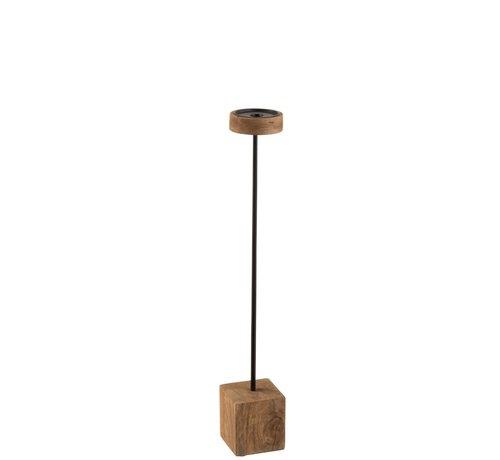 J -Line Candlestick On Foot Mango Wood Metal Brown Black - Large