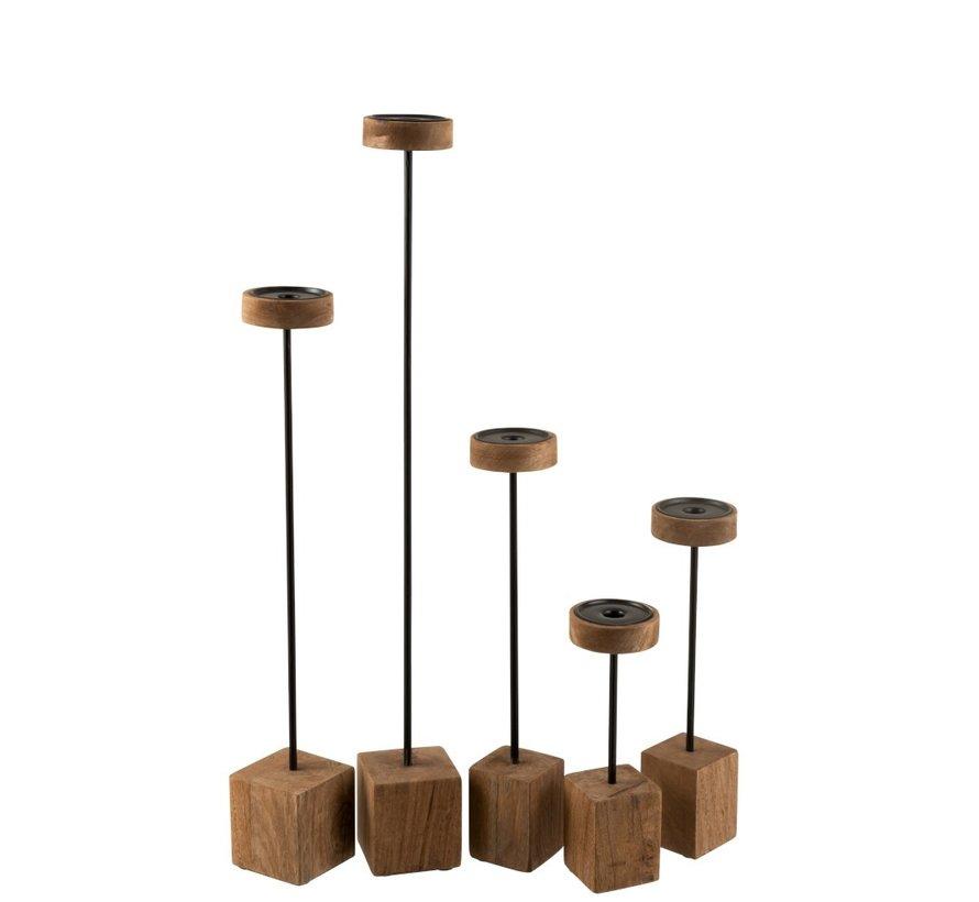 Candlestick On Foot Mango Wood Metal Brown Black - Large