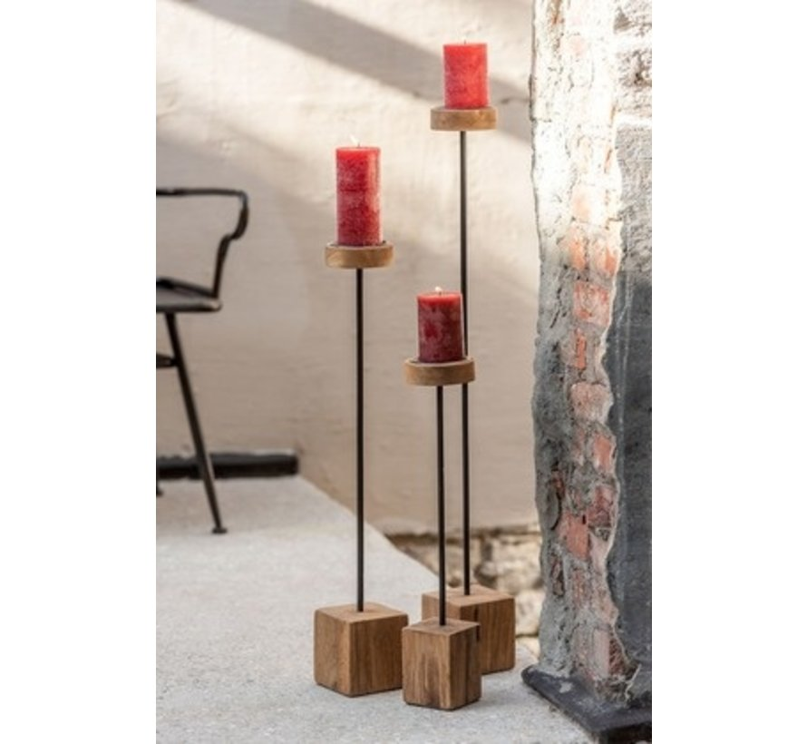 Candlestick On Foot Mango Wood Metal Brown Black - Extra Large