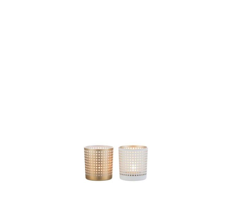 Theelichthouder Glas Patroon Vierkantjes Wit Beige - Small