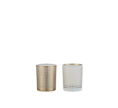 J -Line Theelichthouder Glas Patroon Vierkantjes Wit Beige - Medium