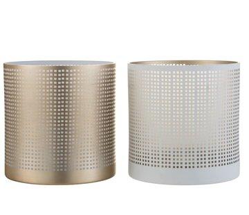 J-Line Theelichthouder Glas Patroon Vierkantjes Wit Beige - Large