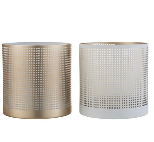 J -Line Theelichthouder Glas Patroon Vierkantjes Wit Beige - Large