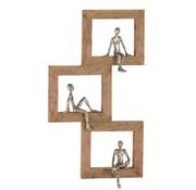 J -Line Wanddecoratie Figuur Vierkanten Relax Personen Mangohout - Zilver