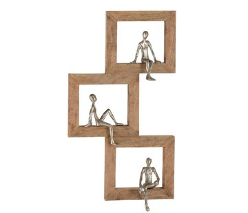 J -Line Wall Decoration Figure Squares Relax Persons Mango wood - Silver
