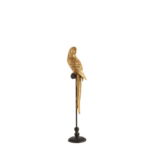 J-Line Decoration Parrot Poly On Stick Brown Gold - Small