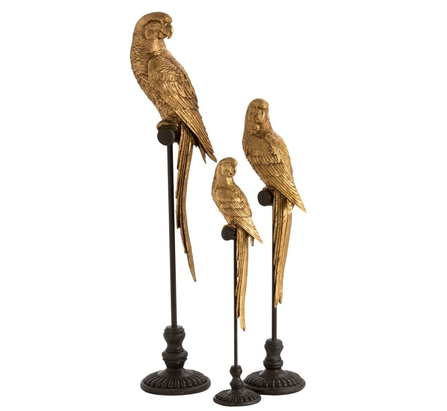 Decoration Parrot Poly On Stick Brown Gold - Small