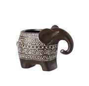 J -Line Flowerpot Elephant Terracotta Ethnic Dark Brown White - Small