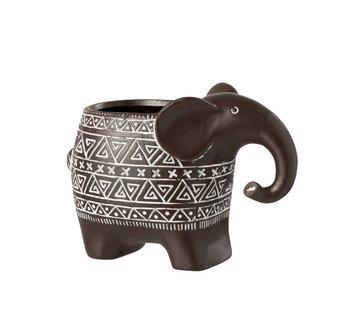 J-Line Flowerpot Elephant Terracotta Ethnic Dark Brown White - Small