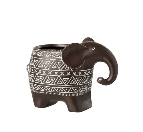 J -Line Bloempot Olifant Terracotta Ethnic Donkerbruin Wit - Small