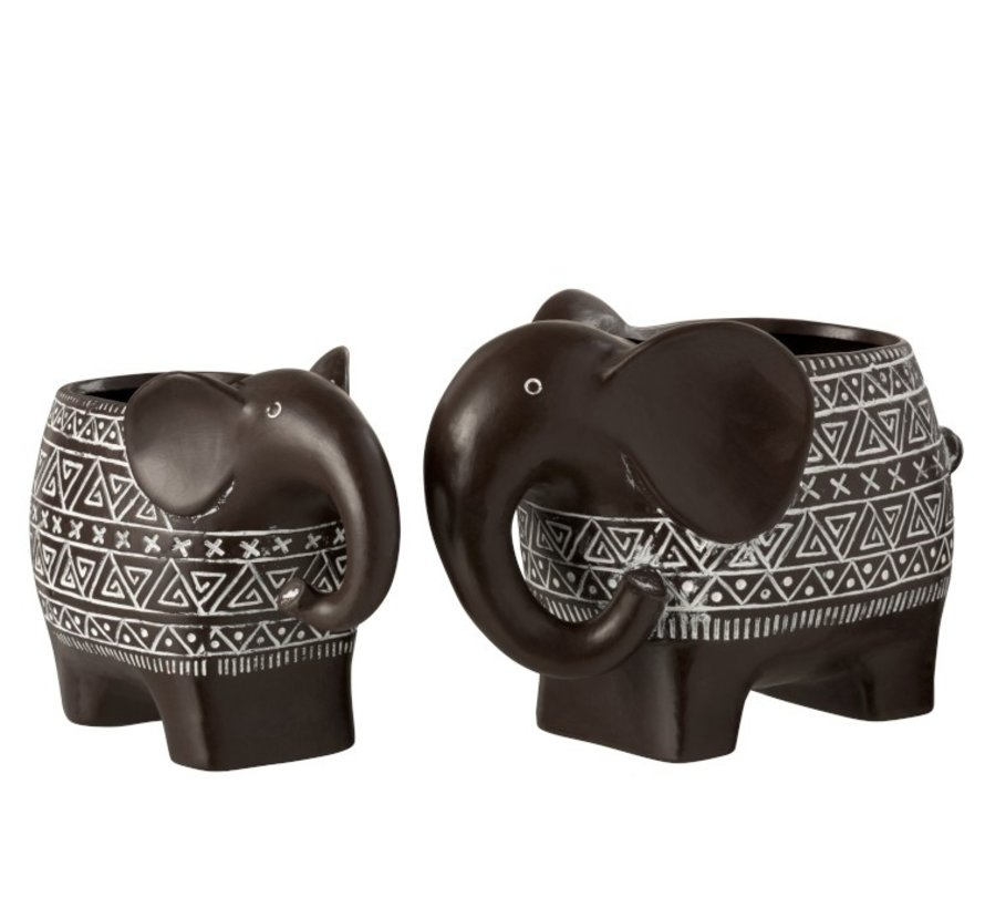 Flowerpot Elephant Terracotta Ethnic Dark Brown White - Small
