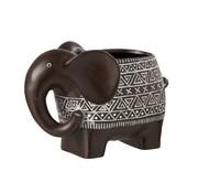 J-Line Flowerpot Elephant Terracotta Ethnic Dark Brown White - Large