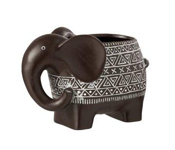 J -Line Flowerpot Elephant Terracotta Ethnic Dark Brown White - Large