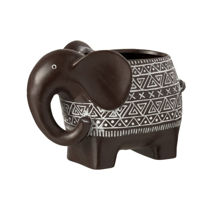 Bloempot Olifant Terracotta Ethnic Donkerbruin Wit - Large