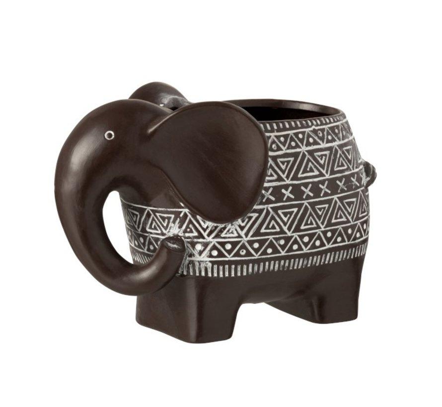 Flowerpot Elephant Terracotta Ethnic Dark Brown White - Large
