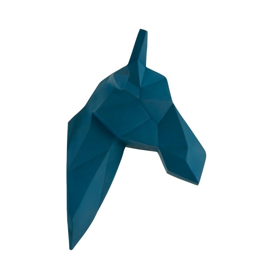 Wanddecoratie Abstract Giraf Kop Polyester - Blauw
