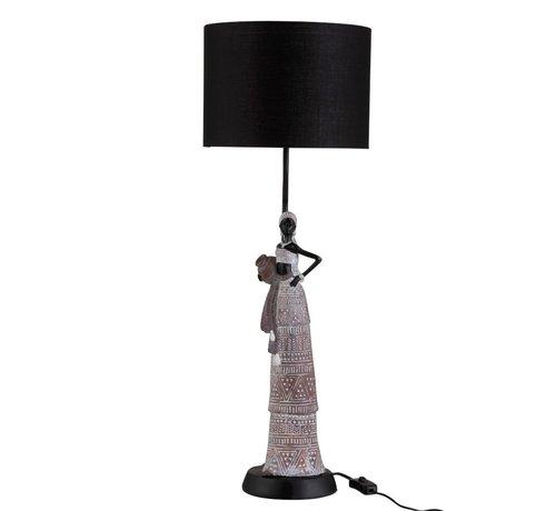 J-Line Tafellamp Afrikaanse Vrouw Etnisch Poly Bruin - Zwart
