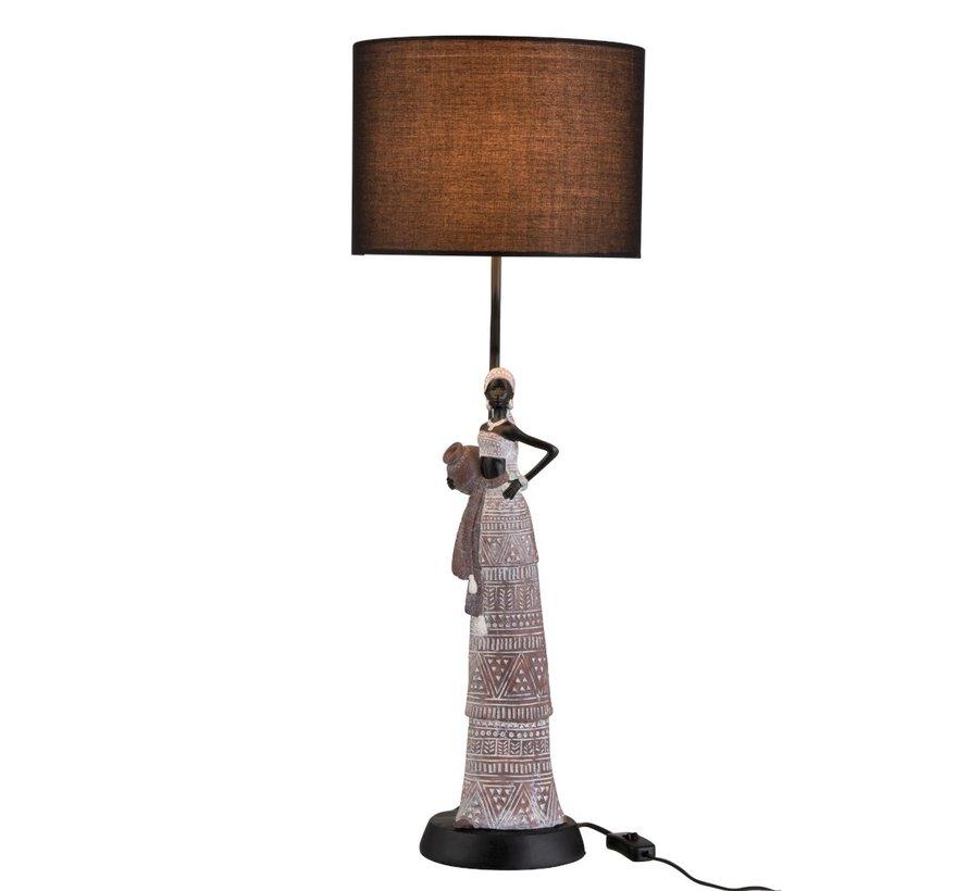 Tafellamp Afrikaanse Vrouw Etnisch Poly Bruin - Zwart
