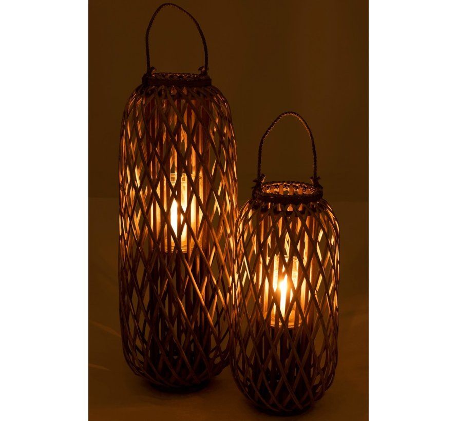 Lantern Cylinder Woven Willow Wood Gray - Small