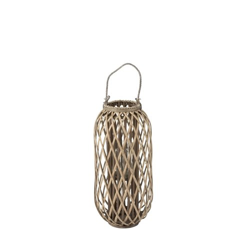 J-Line  Lantern Cylinder Woven Willow Wood Gray - Small
