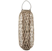 J -Line Lantern Cylinder Woven Willow Wood Gray - Large